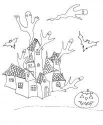 Imprimer le coloriage fantômes sortant de la maison