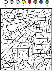 Jeu de coloriage numéroté : chiffres et mer n°1