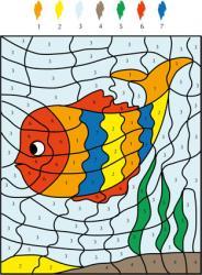 Solution du Jeu de coloriage numéroté : chiffres et mer n°3