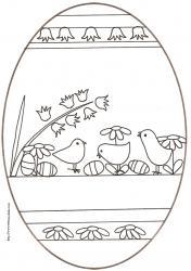 coloriage d'un oeuf de Pâques : frise de poussins