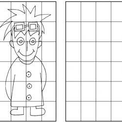 Imprime ce jeu pour apprendre à dessiner un garçon en utilisant des cases