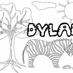 Coloriage prénom Dylan - savane et lettres gwible