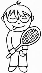 Coloriage de bibi et sa raquette de tenis