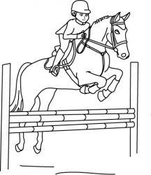 Imprimer le coloriage d'un cheval franchissant un obstacle lors d'une épreuve d'équitation.