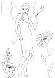 Coloriage de la fée à la baguette magique dans les fleurs