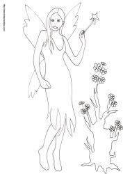 Coloriage de la fée à la baguette magique devant l'arbre à fleurs