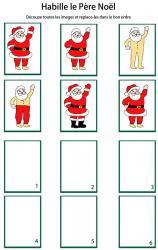 Jeu de Noel : imprime la planche de jeu, découpe chaque carte puis mets les images dans l'ordre pour habiller le Père Noà´l