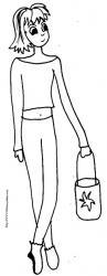 Coloriage d'une fille debout