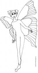 oloriage fille aux ailes de papillon