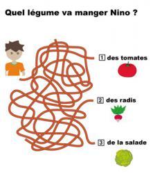 Jeu de labyrinthe à imprimer : Quel légume sera mangé par Nino ? Il te suffit de suivre les fils pour trouver.
