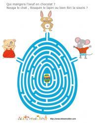 jeu de labyrinthe : lapin, chat, souris et oeuf en chocolat