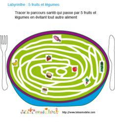 Imprimer le jeu 5 fruits et légumes