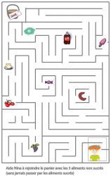 Jeu à imprimer : un jeu de labyrinthe à imprimer pour t'amuser sur les saveurs sucrées et salées