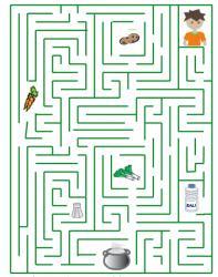 Jeu à imprimer : imprime ce jeu de labyrinte et trouve les bons ingrédients pour la soupe de légumes