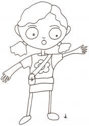 Coloriage de Laura bras en croix