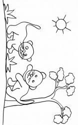 coloriage de deux petits lionceaux