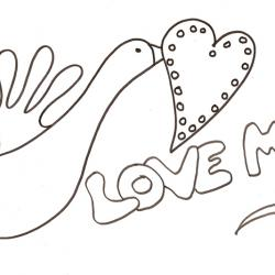 coloriage love : la colombe au coeur