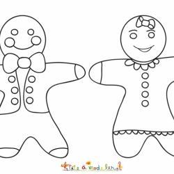 Coloriage bonhomme en pain d'épices : une fille et un garçon. Coloriage de brioches de Noël en forme de bonhomme à imprimer.
