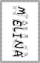 Coloriage prénom Mélina- Drôles de lettres bestioles