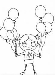 coloriage de fille avec ses ballons