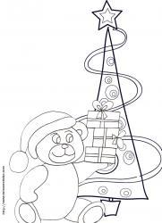 Coloriage de l'ours devant le sapin de Noël