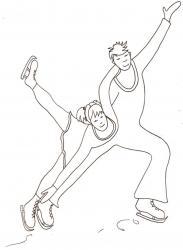 Coloriage patinage sur glace : couple