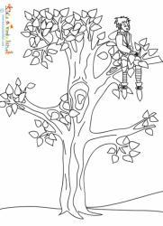 Coloriage du petit tailleur caché dans l'arbre