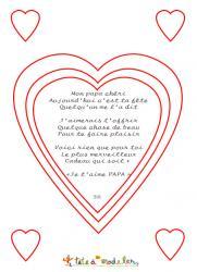 """""""Mon papa chéri"""" est un joli poème pour dire """"je t'aime"""" à son papa le jour de la Fête des pères. Ce poème est inscrit dans des coeurs et est à imprimer et à colorier pour faire une jolie carte à glisser dans une belle enveloppe puis à offrir ou à joindre"""