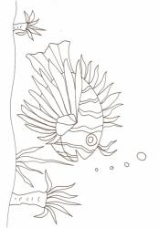 coloriage d'un gros poisson hérisson