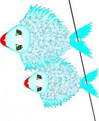 Deux jolis poissons d'avril bleus