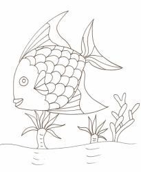coloriage d'un gros poisson arc en ciel