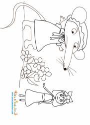Coloriage de Raiponce et madame souris