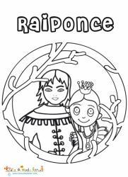 Coloriage du portrait de raiponce et du prince