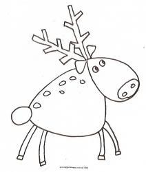 Coloriage d'un renne du Père Noël