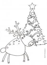 Coloriage d'un renne devant le sapin de Noël