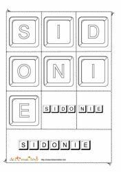 Les lettres du prénom Sidonie