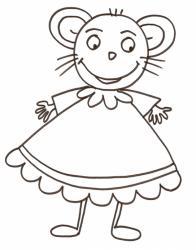 coloriage d'une souricette en robe