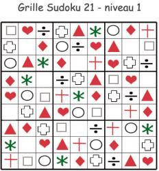 Imprimer le sudoku 21 niveau 1 : maternelle