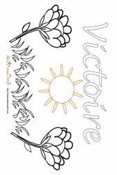 Coloriage prénom Victoire - Jardin fleuri