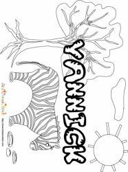 Coloriage prénom Yannick - savane et lettres gwibBle