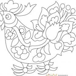 Coloriage coq du zodiac chinois