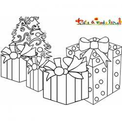 Cadeaux du 25 décembre à colorier