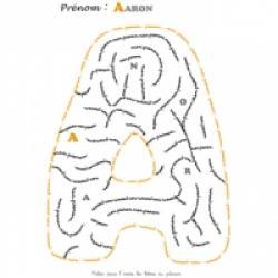 Activité et jeux sur les prénoms d'enfants lettre A