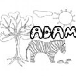 Coloriage prénom Adam - Savane et lettres gwible