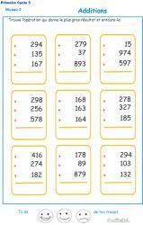 Imprimer les additions en colonne 3 chiffres  fiche 5