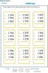 Imprimer les additions en colonne 3 chiffres  fiche 6