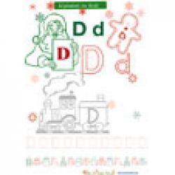 Alphabet de Noël : le D à colorier
