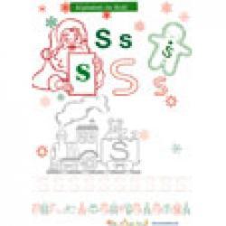 """Alphabet de Noël, lettre """"S"""" pour le coloriage"""