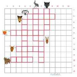 Imprimer la grille de mots croisés animaux de la forêt 1 pour le primaire cycle 2