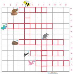 Imprimer la grille de mots croisés animaux des jardin 1 pour le primaire cycle 2